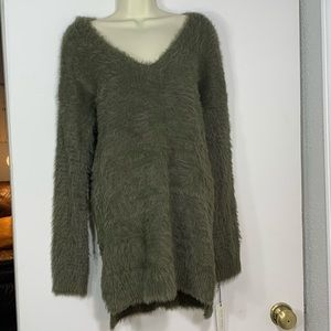 NEW Ruby Moon green fuzzy sweater with criss cross